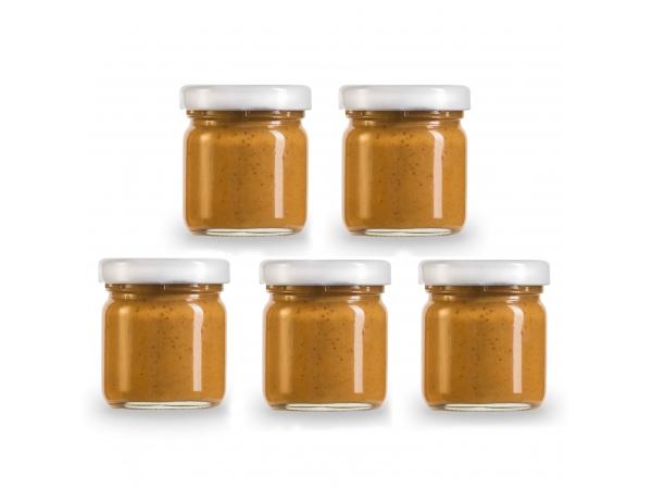 Probierpaket mit Erdnussbutter in 5 verschiedenen Geschmacksrichtungen in Mini-Gläsern (Geschenkset)